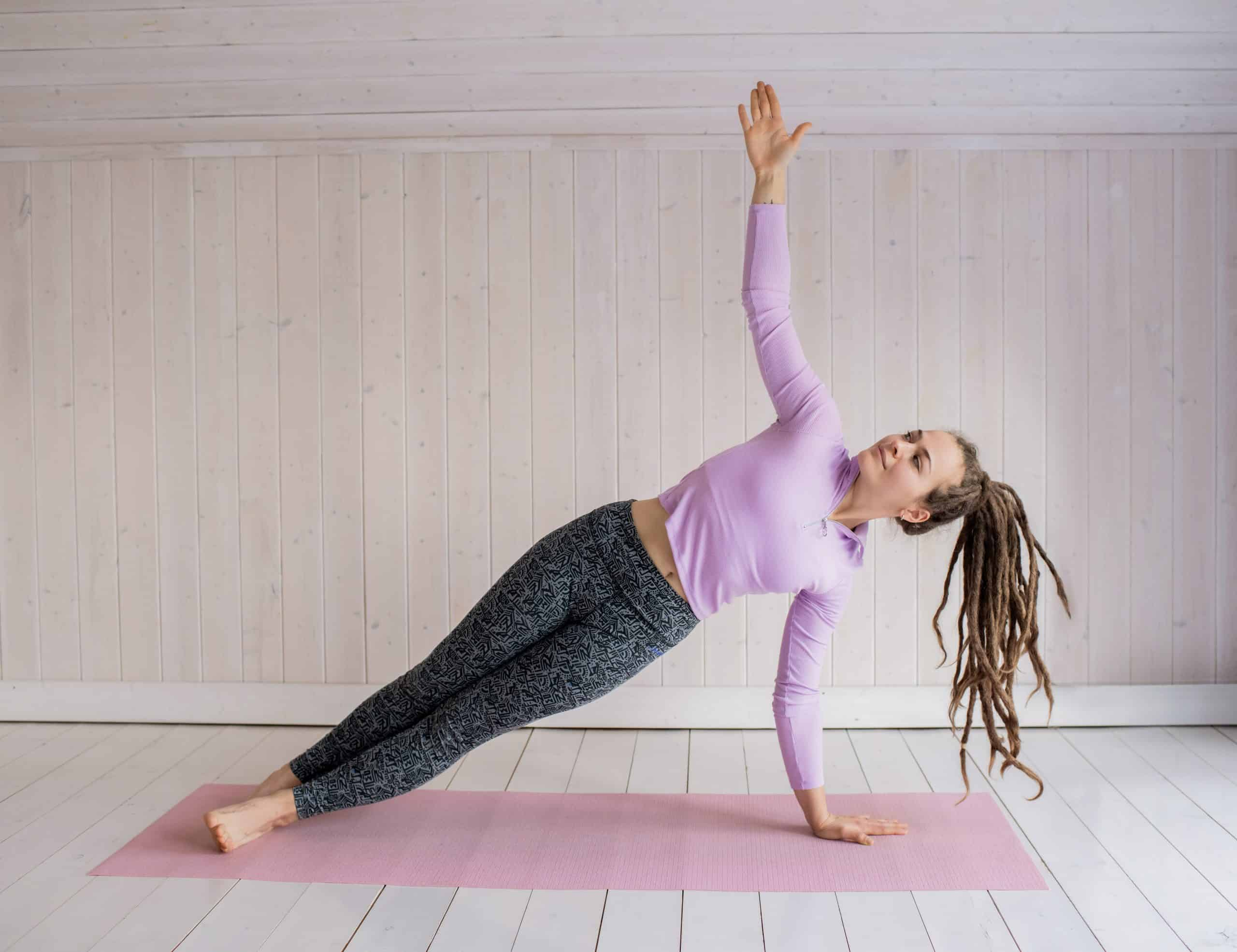 Canva - Woman In Pink Long Sleeve Shirt And Gray Leggings Doing Yoga