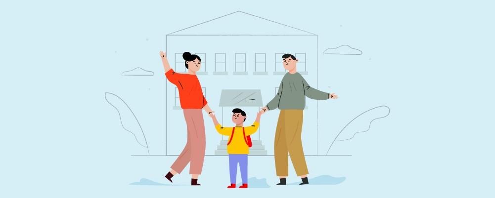 Family taking kid to school