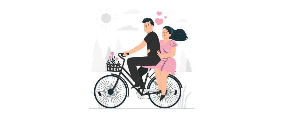 A couple riding together on a single bicycle
