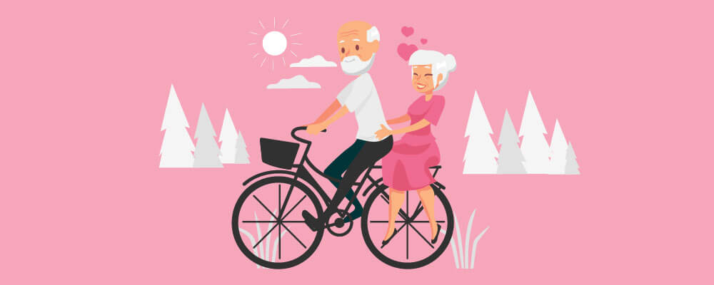 A old couple riding a single bicycle