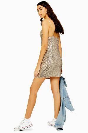 Sequin Cowl Mini Dress