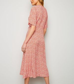 Red Ditsy Floral Button up Wrap Dress