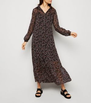 Black Floral Chiffon Midi Smock Dress