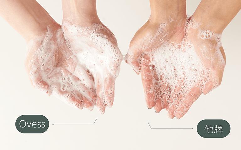 Ovess發表以AOS為基底,取代傳統清潔力過強基底,連泡沫也更柔和舒適,不易殘留。