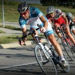 Cyclists racing a criterium