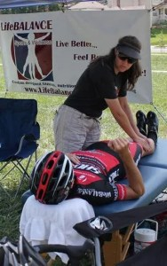 Gina working at a race