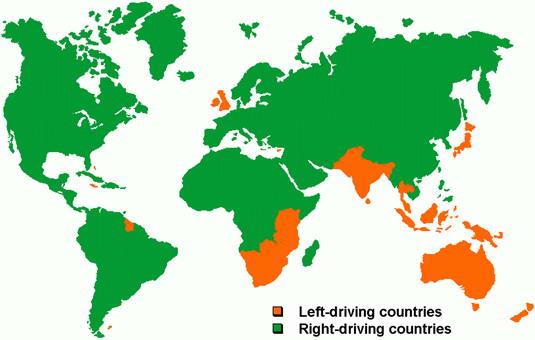 peta sebaran wilayah yang menggunakan lajur kiri atau kanan dalam mengemudi