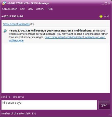 SMS menggunakan Yahoo Messenger
