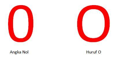 perbedaan angka nol dan huruf O