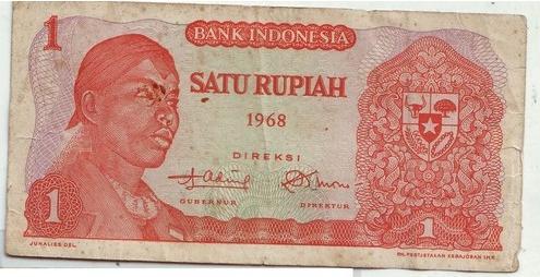 uang indonesia kuno satu rupiah tahun 1968