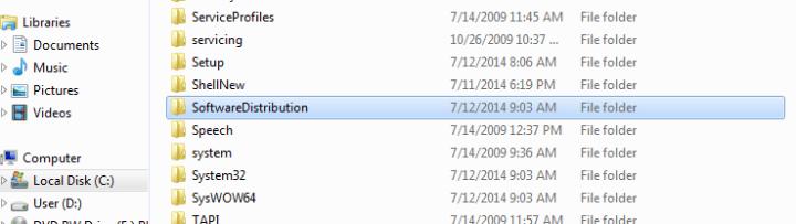 mengubah folder SoftwareDistribution