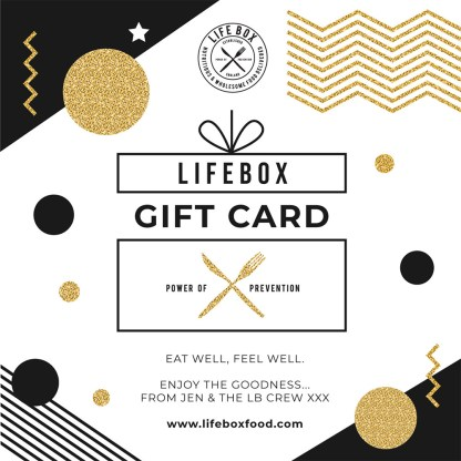 A Lifebox gift card in square