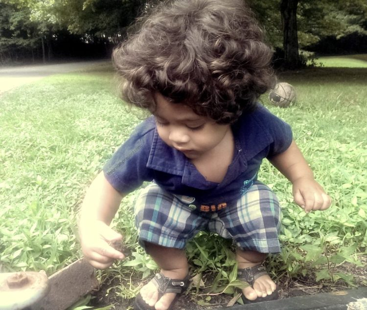 play, baby, 17 months, growing, growing up, water, rocks, outdoors