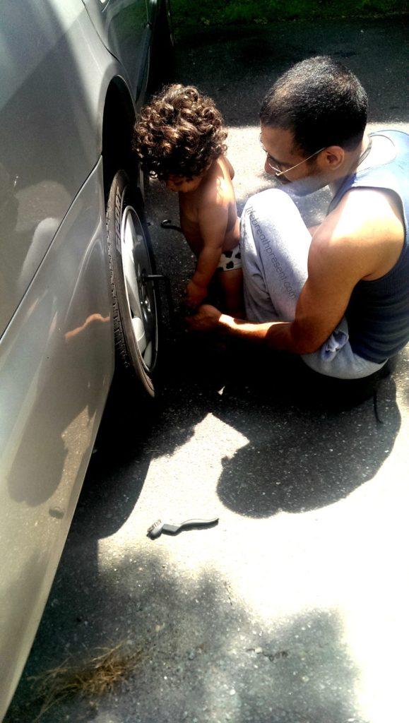 car repair, working on car