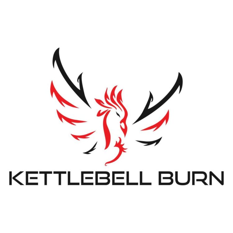 kettlebell burn, logo, kettlebell, workout, exercise, fitness, health, wellness, justin cox