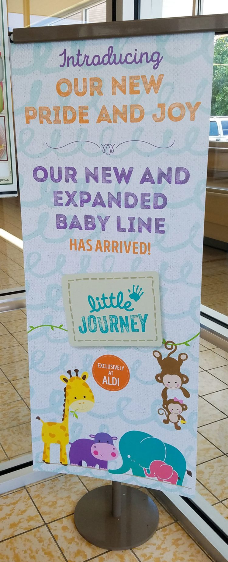 influenster, aldi, voxbox, baby, products, littlejourney, store sign, signage