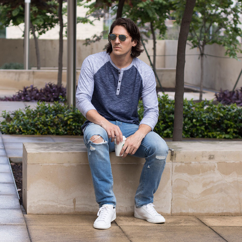 @Dylanbenjam Instagram Male Fashion Blue Baseball Henley