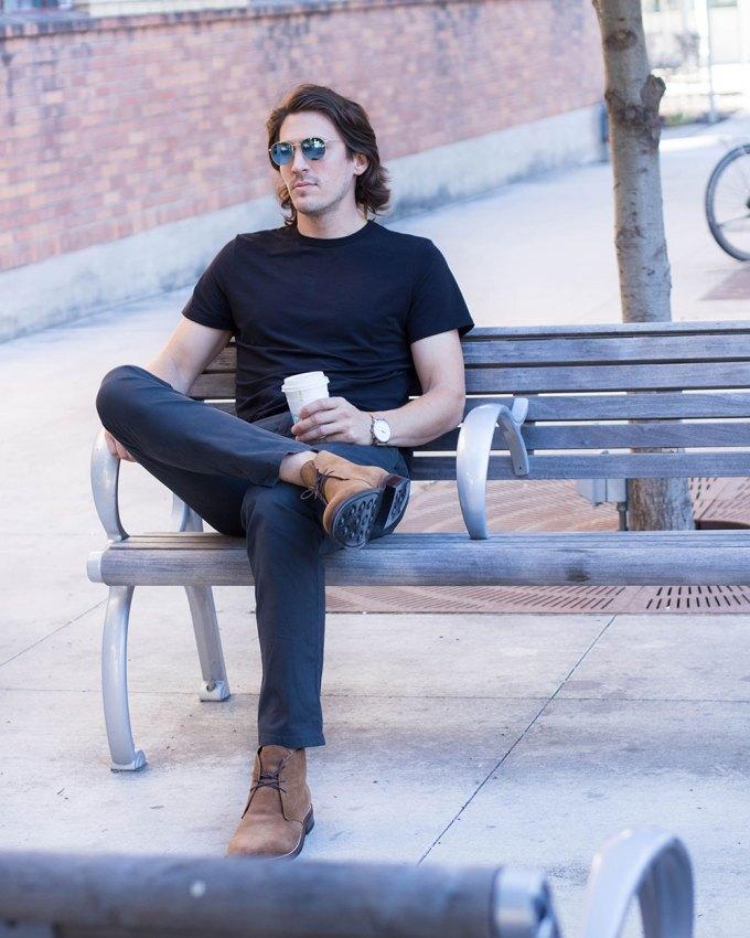 @Dylanbenjam Instagram Male Fashion Pistol Lake Shirt and Thursday Boots Chukkas