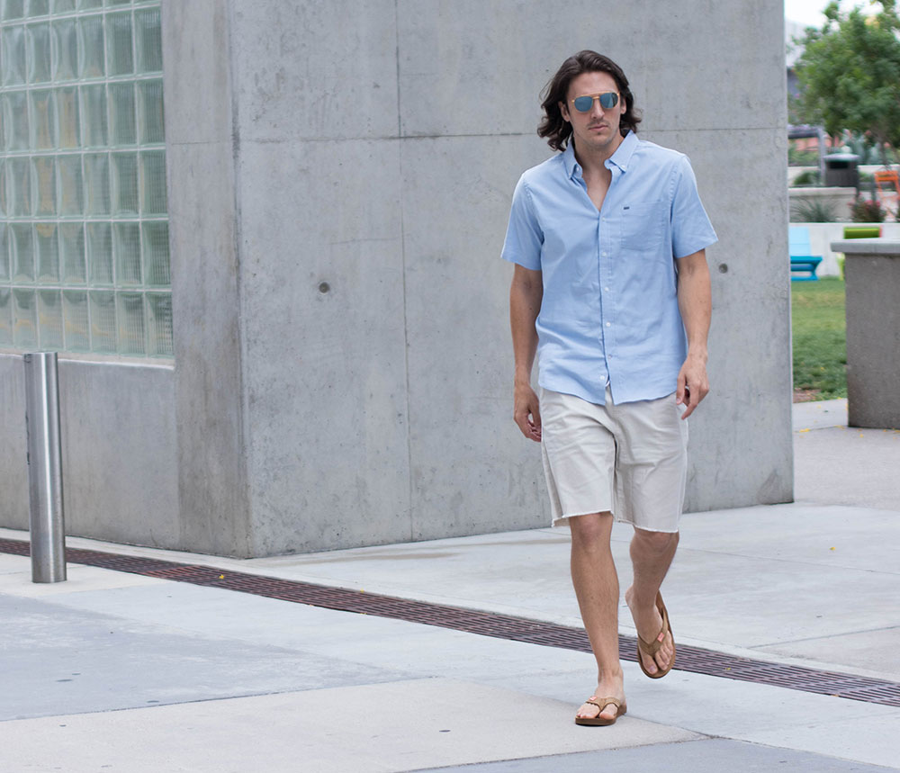 IMG_3528Dylanbenjam Instagram Mens Fashion Blue Shirt tan shorts