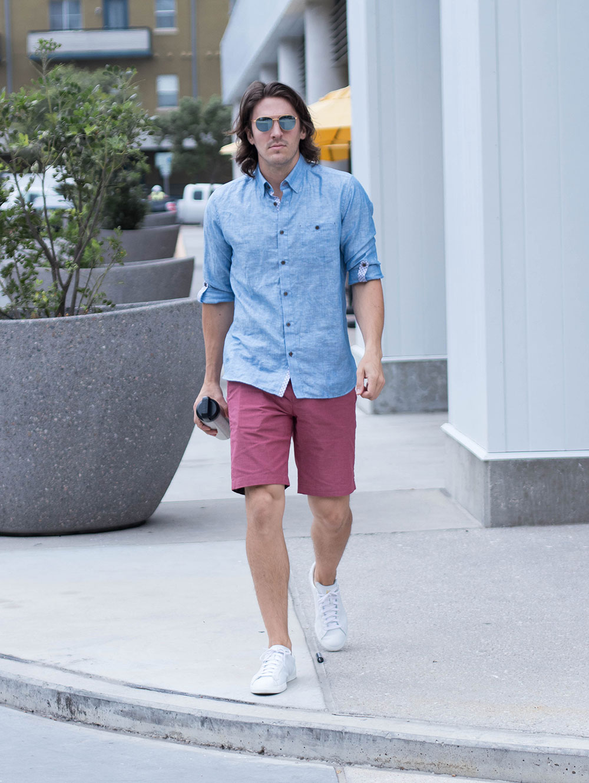 Dylanbenjam Instagram Mens Fashion Blue Shirt Red Shorts