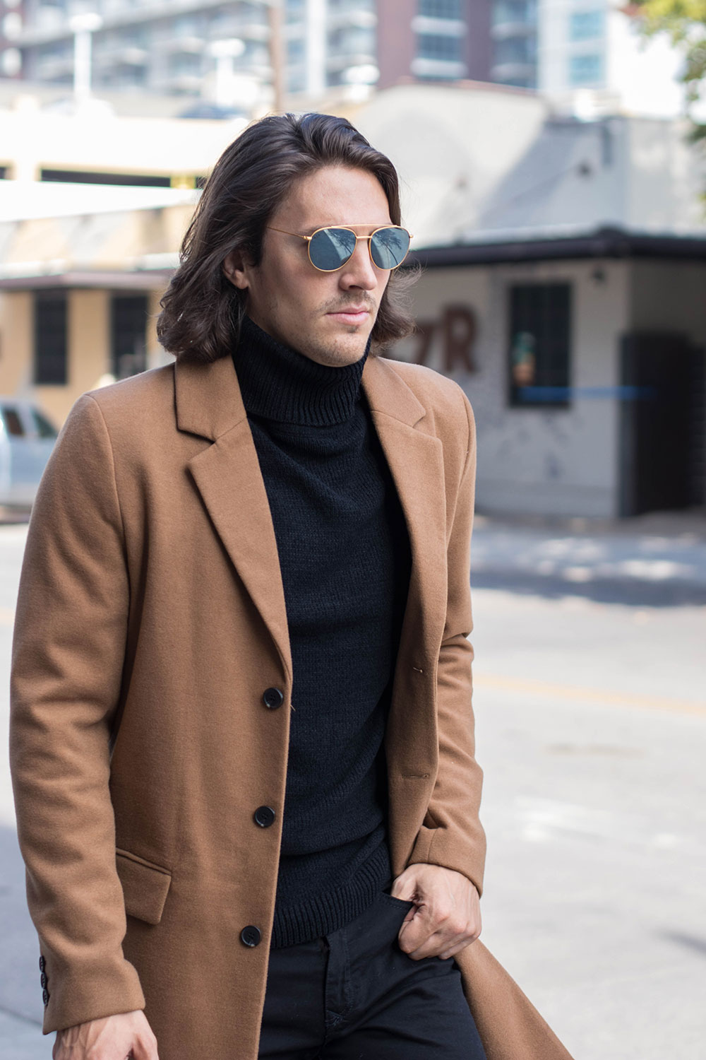 Mens Camel Overcoat with Black Sweater, Black Jeans and Brown Shoes