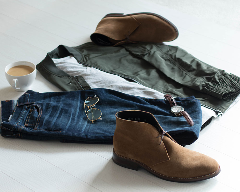 Green Bomber Jacket and Brown Chukkas