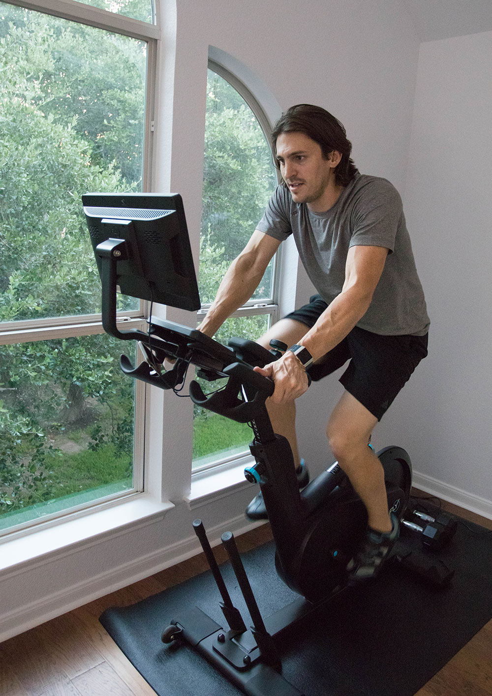 Working out on Spin Bike