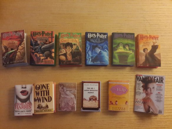 Miniature Harry Potter books and other titles.