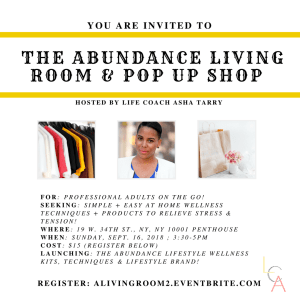 Life Coach Asha - Abundance Living Room Pop up Shop Sept. 16. 2018