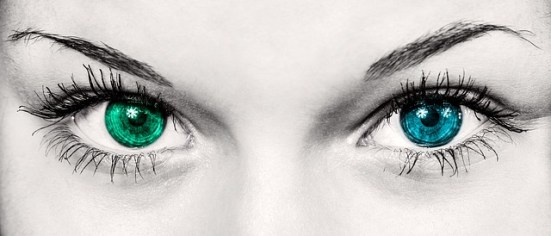 fear and intuition woman with 2 colored eyes