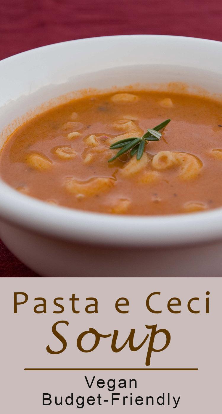 Pasta e Ceci Soup {Pasta and chickpea soup} recipe a budget-friendly vegan soup recipe