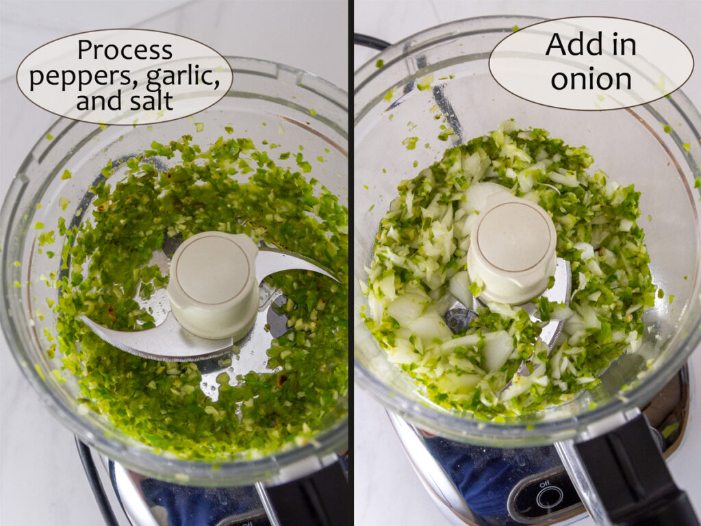 salsa ingredients in a food processor.