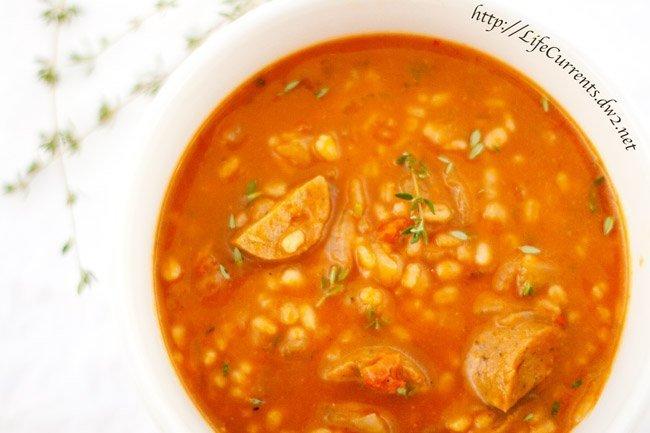 Pumpkin Barley Soup: a delicious vegetarian budget-friendly soup that's perfect for the cooler months! https://lifecurrentsblog.com