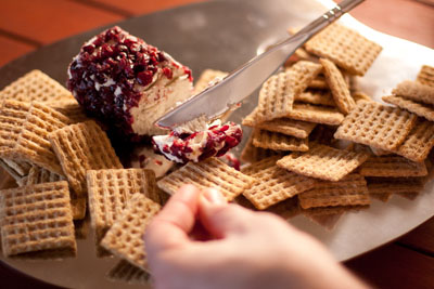 Cranberry Goat Cheese with Rosemary Crackers