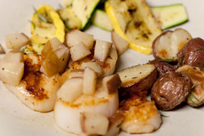 Vanilla Dusted Sea Scallops with Rosemary Roasted Red Potatoes and Grilled Zucchini Ribbons Recipe