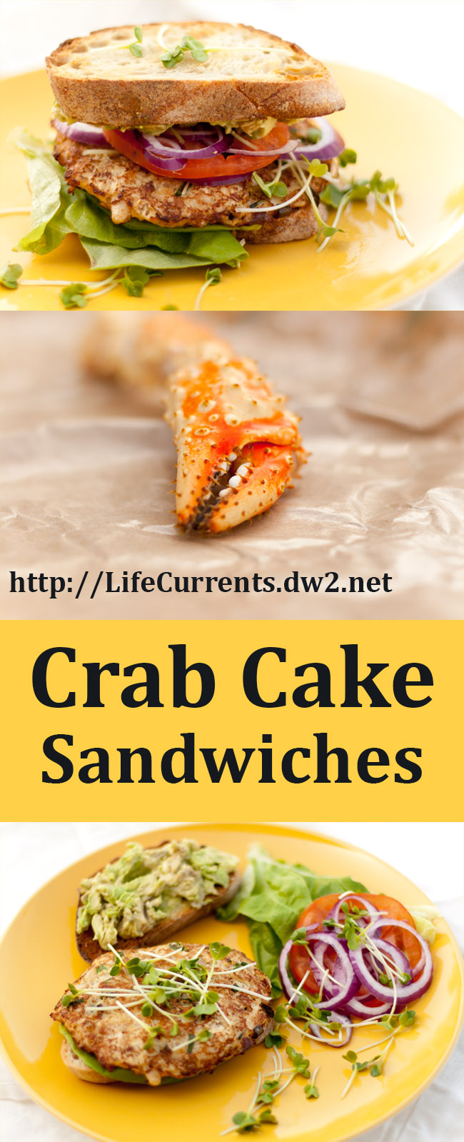 Crab Cake Sandwiches - Serve warm crab cakes on toasted sourdough bread
