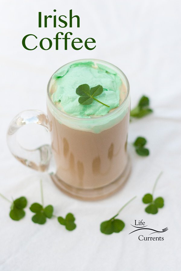 Kiss of the Irish Coffee with green whipped cream