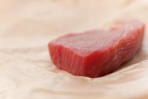 Seared Albacore Tuna served over Roasted Asparagus and Potato Puree raw tuna
