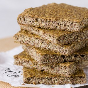 Gluten-Free Baking & Baked Goods with a recipe for flax seed bread and a stack of slices of the bread