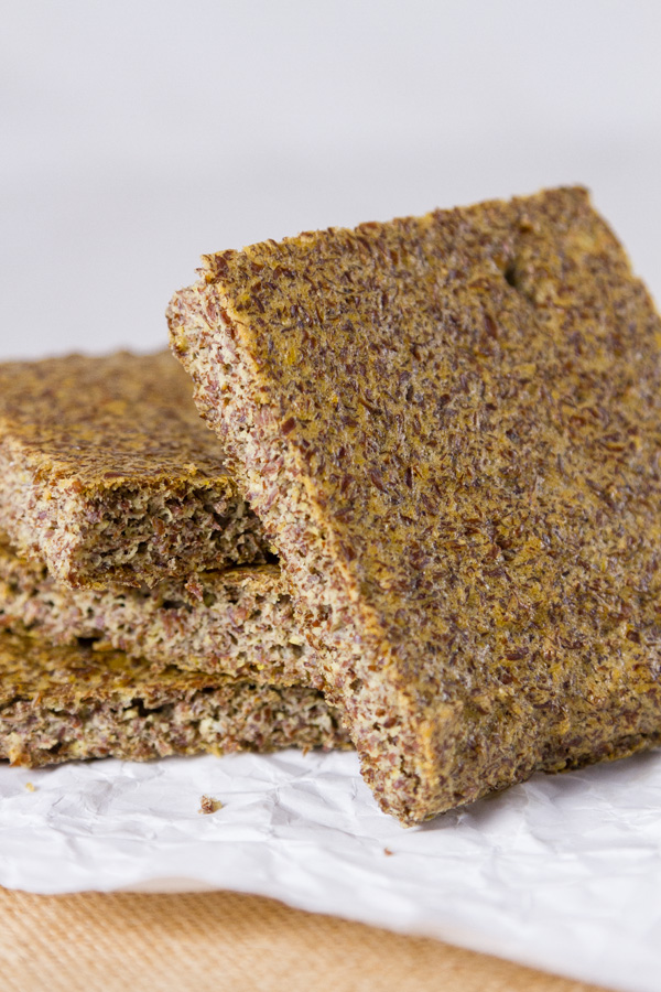 a stack of slices of Flax seed bread for Gluten-Free Baking & Baked Goods