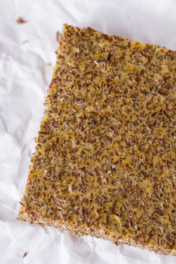 a piece of Flax Seed Bread viewed from the top down for Gluten-Free Baking & Baked Goods