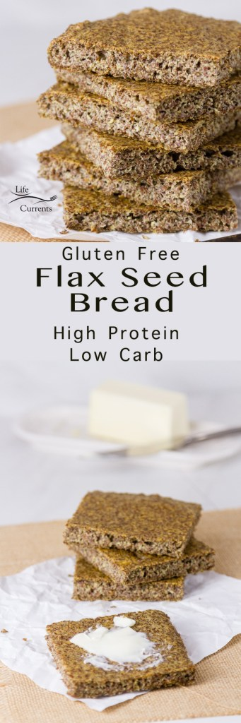 Gluten free flax seed bread high protein low carb long pin for pinterest with two images and a title for Gluten-Free Baking & Baked Goods