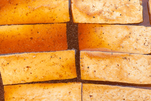 Tofu Jerky - the tofu marinating