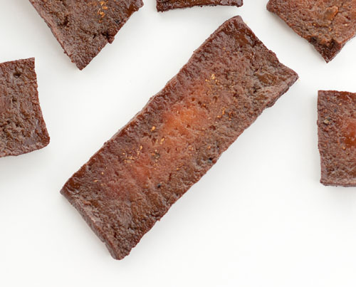 Tofu Jerky This piece of jerky needs to be cooked for a bit longer, note the white part in the center