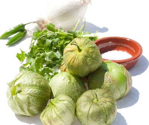 salsa Verde: Roasted Tomatillo Salsa with serrano chiles and cilantro
