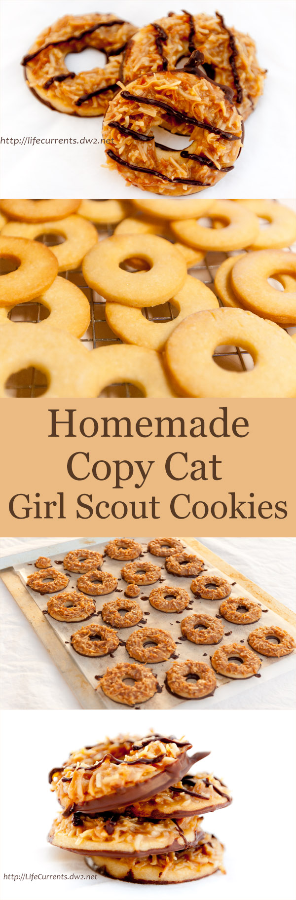 Homemade Tropical Pacific Cookies (aka homemade Girl Scout Samoas or caramel delights)