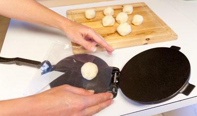 Homemade tortillas encase fillings like Seasoned Black Bean Mash, Verde Queso Fun-dito, and Homemade Guacamole. step5 tortillas