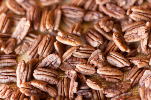 Crisp pecans, not as sugary as sugared nuts. These are really crisp and great for snacking. boiled pecans