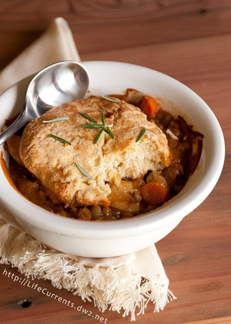 Lentil and Potato Pot Pies with Rosemary Biscuit Crust