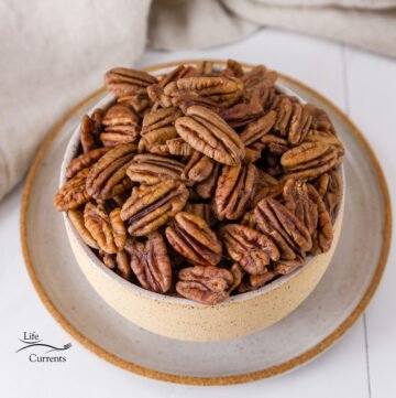 toasted pecans in a bowl, square crop